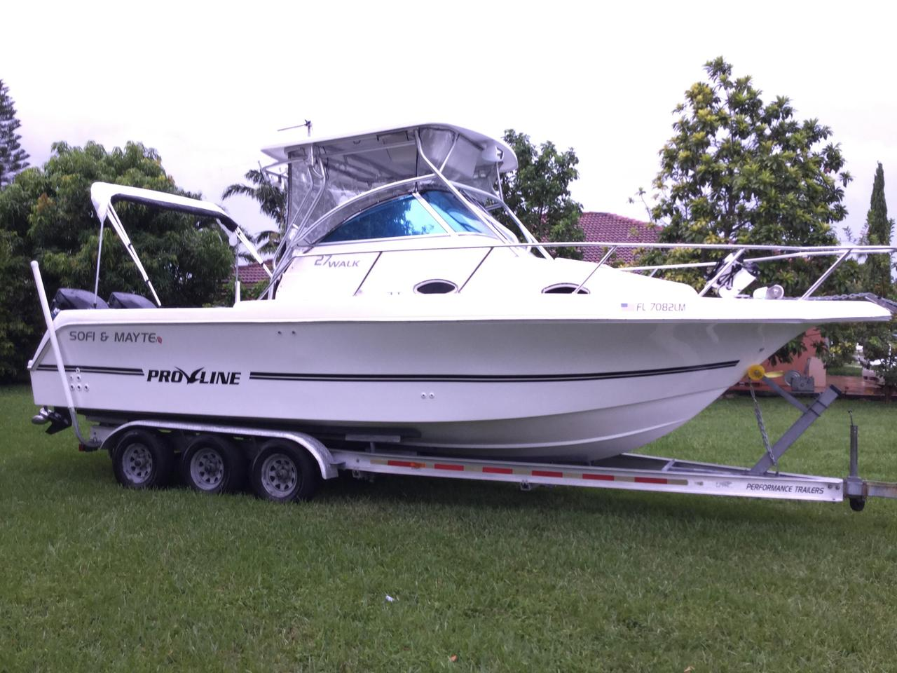 2000 used pro line 27 walkaround fishing boat for sale for Used fishing boats for sale in florida