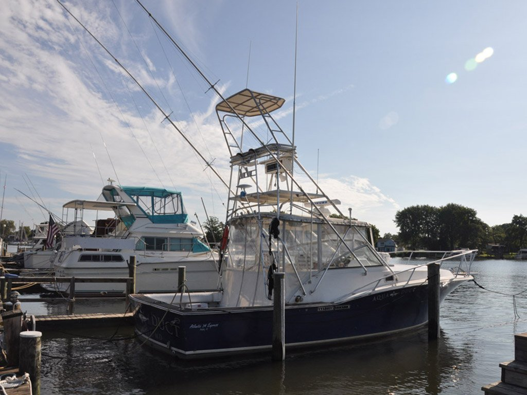 1989 used atlantic boat 34 express fish saltwater fishing for Used fishing boats for sale in md