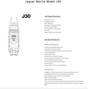 New Jaguar J30 Center Console Fishing Boat For Sale