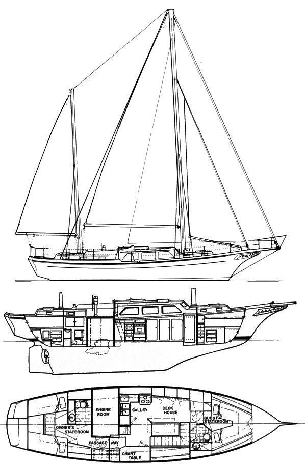 1973 Used Alden Dolphin Ketch Sailboat For Sale