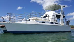 Used Custom Power Trimaran Flybridge Boat For Sale