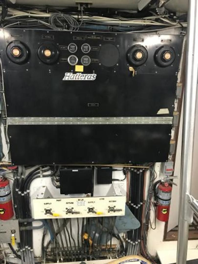 Trawler Engine Room: 1975 Used Hatteras 58 LRC Trawler Boat For Sale