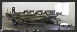 Used Tracker Grizzly Blind Duck 1760 MVX Sportsman Aluminum Fishing Boat For Sale