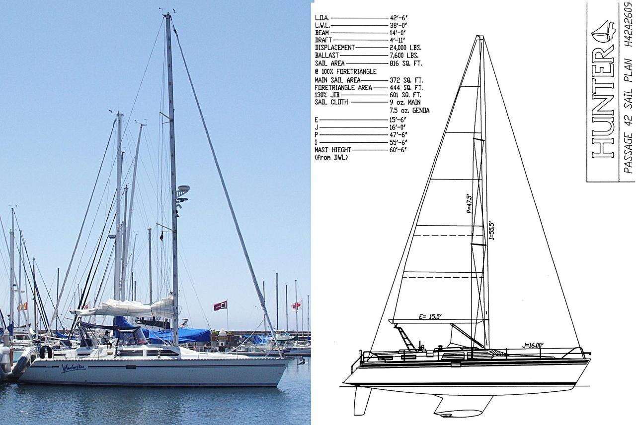 1991 Used Hunter Passage 42 Cruiser Sailboat For Sale
