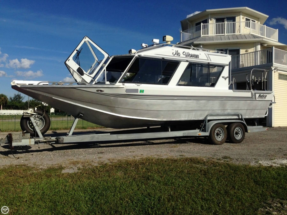 1995 used hudson custom 27 jet boat aluminum fishing boat for Jet fishing boats for sale