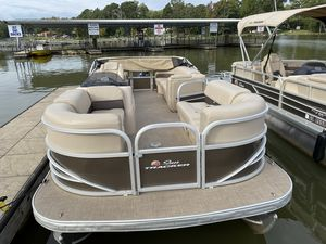Used Sun Tracker PARTY BARGE 22 w/ Mercury 115Hp 4S Pontoon Boat For Sale