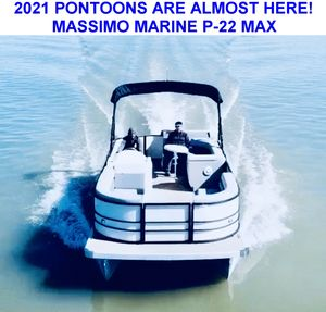 New Massimo Marine P-23 Max 90HP Grey Pontoon Boat For Sale