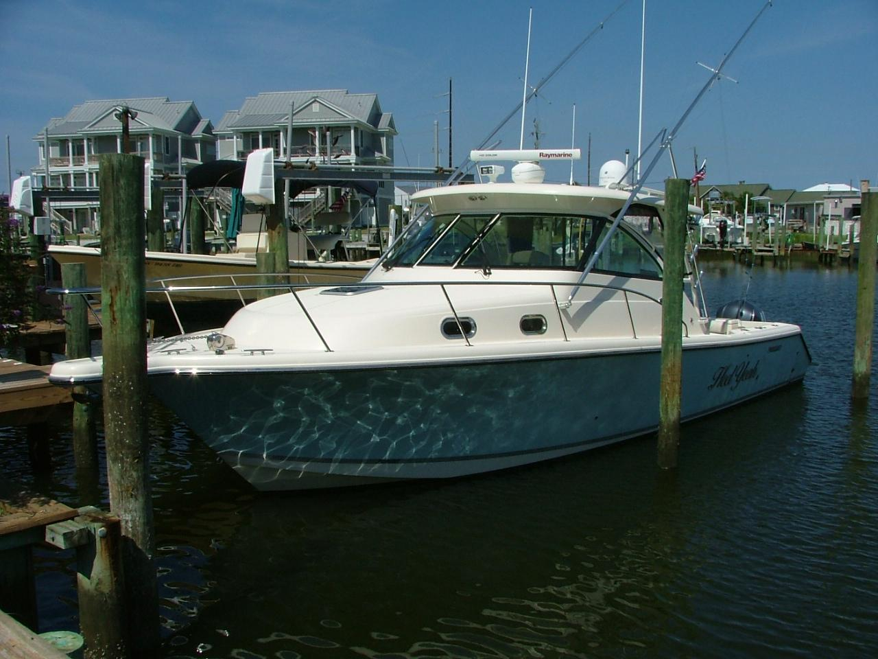 2013 used pursuit os 345 offshore saltwater fishing boat for Offshore fishing boat