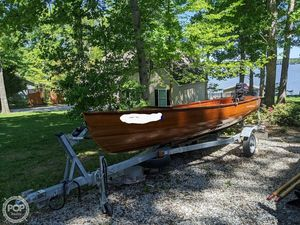 Used Hand Crafted 15' Canadian Red Cedar Skiff Fishing Boat For Sale