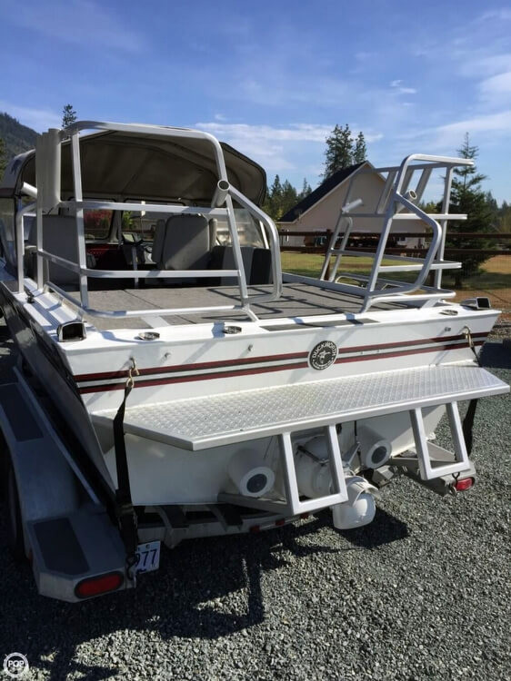 1987 used duckworth 20 silver wing aluminum fishing boat for Used aluminum fishing boats