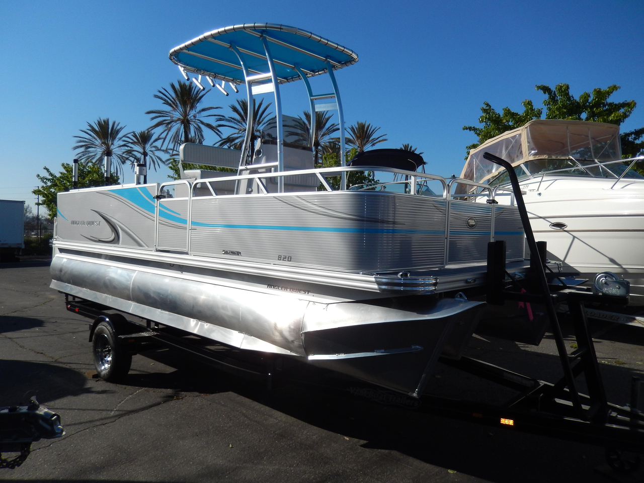 2015 new qwest angler 820 pro fish tt2 pontoon boat for for Angler fish for sale