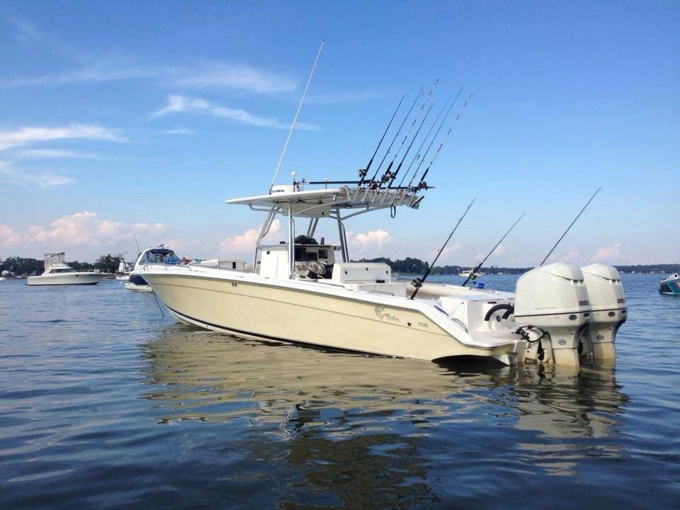 2004 used jefferson marlago 35 cuddy sports fishing boat for Used fishing boats for sale in md