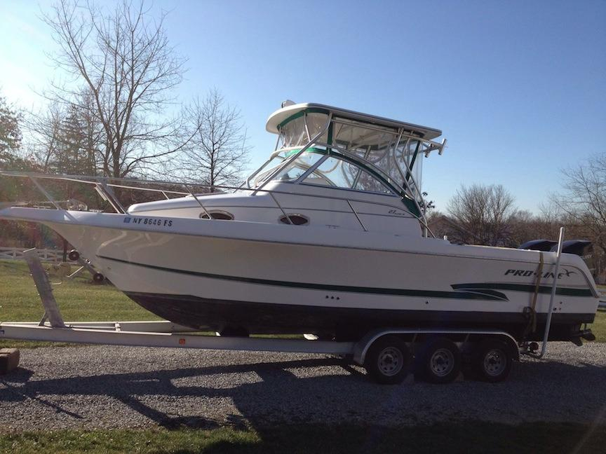 2001 used pro line 27 walk around srg 27 walk around srg for Fishing boats for sale in ny