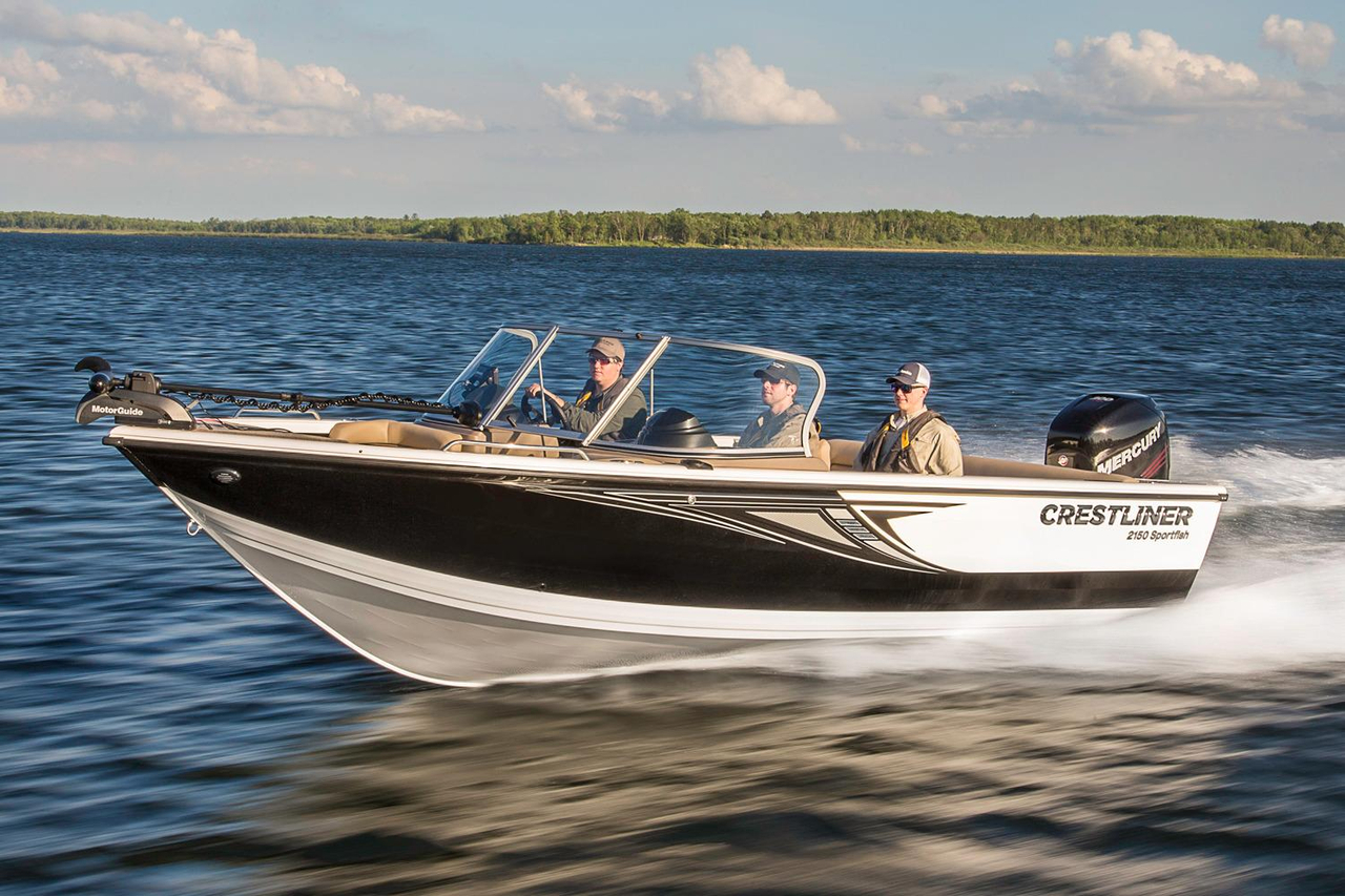 2016 new crestliner 2150 sportfish outboard aluminum for Fishing pontoons for sale
