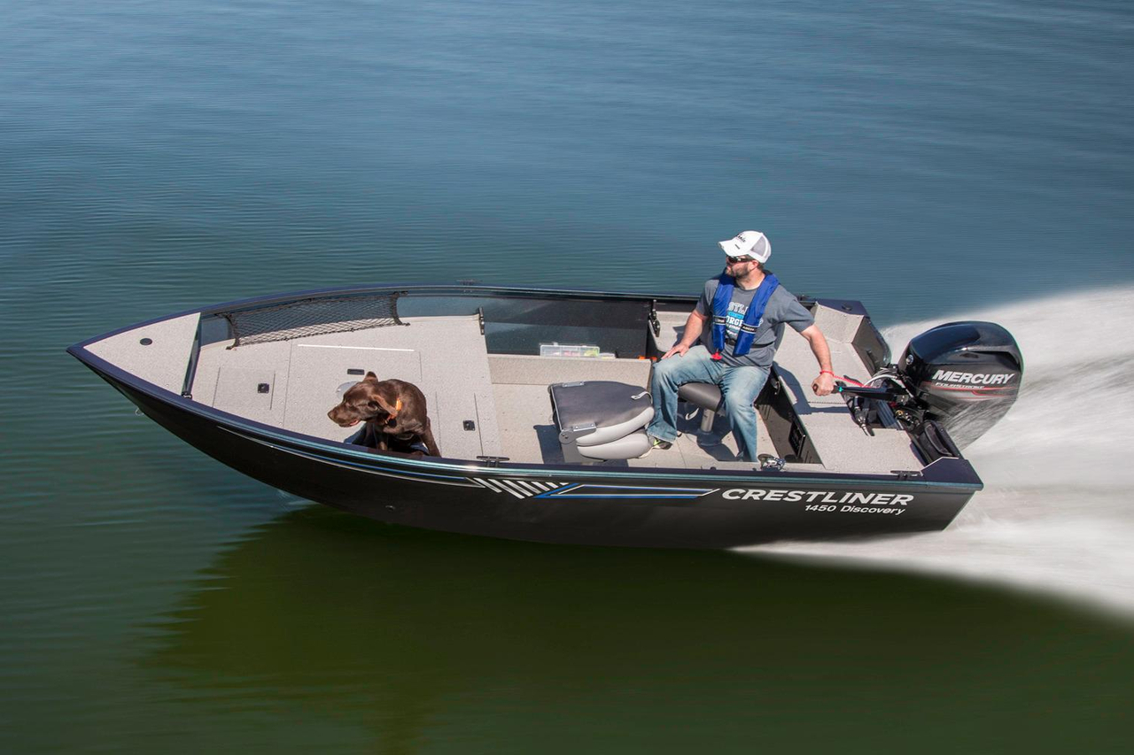 2016 new crestliner 1450 discovery tiller aluminum fishing for New fishing boats for sale
