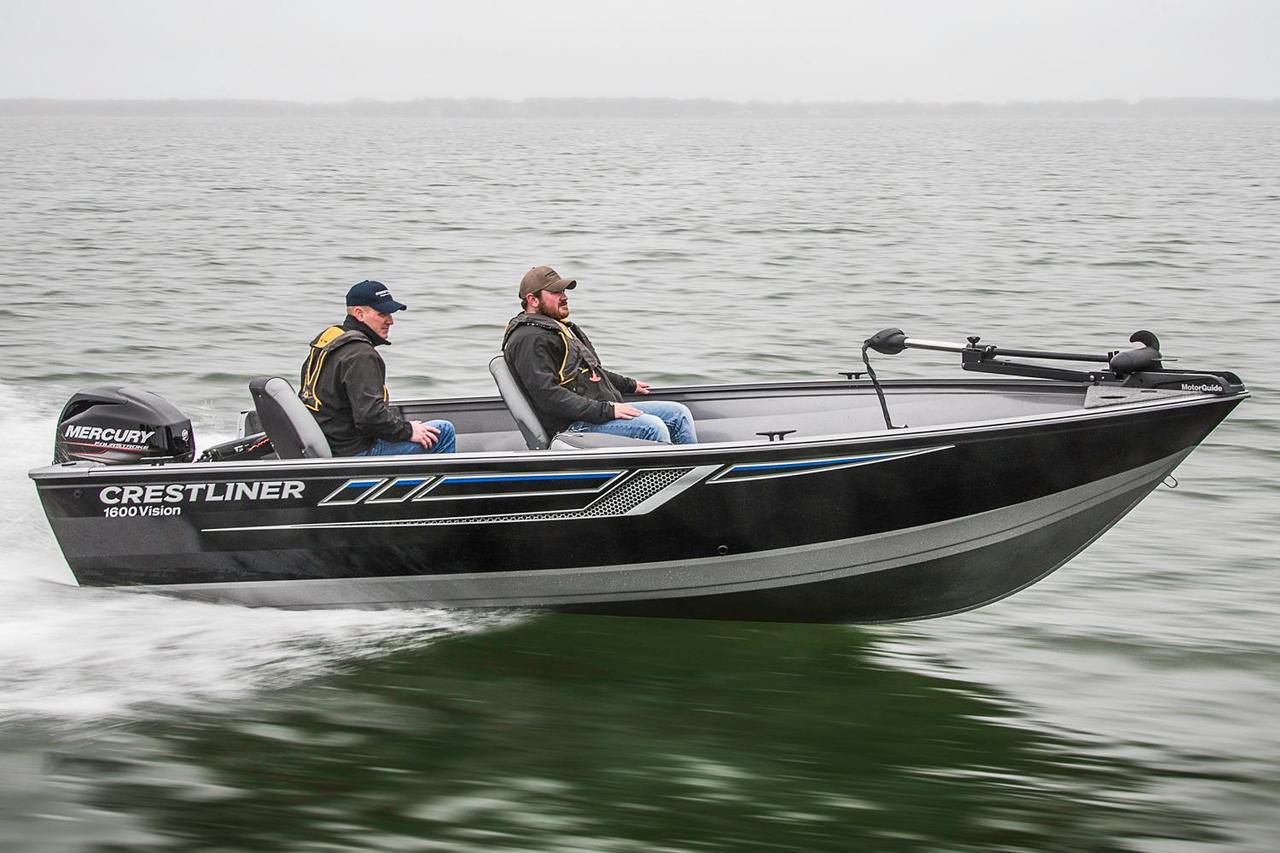 2016 new crestliner 1600 vision tiller aluminum fishing for New fishing boats for sale