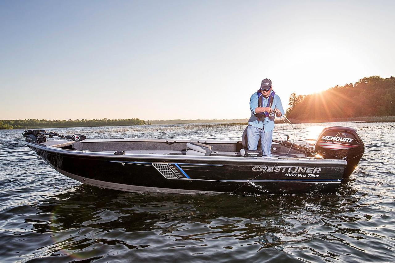 2016 new crestliner 1850 pro tiller aluminum fishing boat for Fishing boats for sale mn