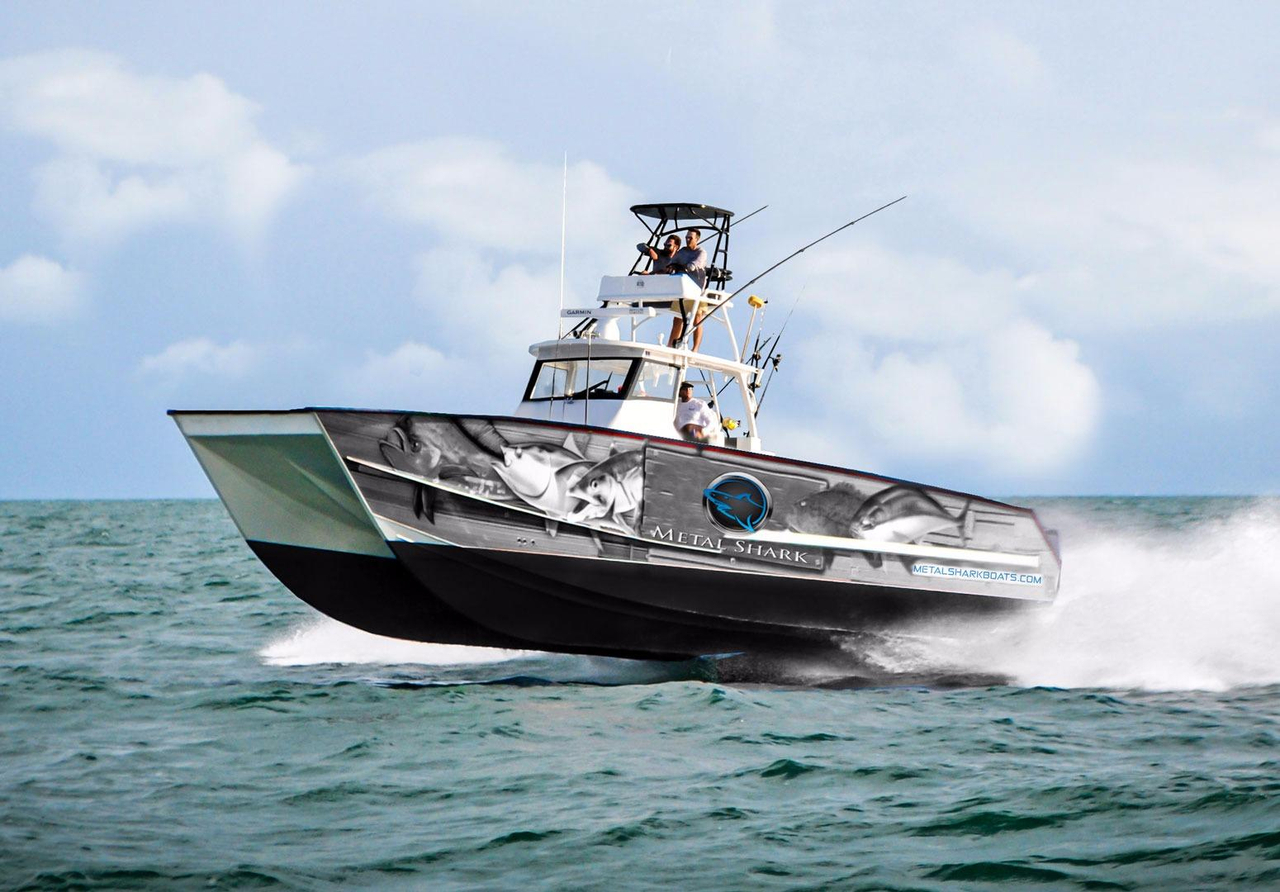 2017 new metal shark 40 catamaran center console fishing for Metal fishing boat